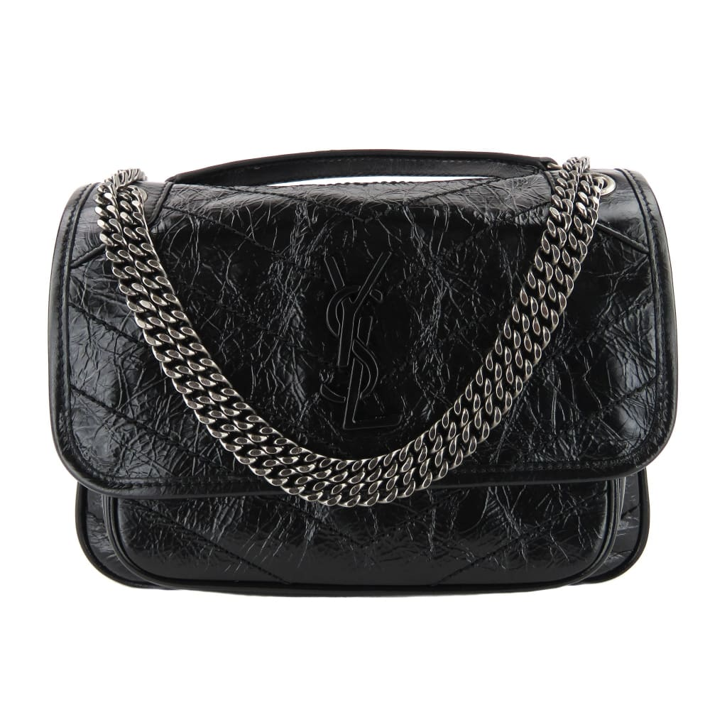 Saint Laurent Black Crinkled Calfskin Leather Matelasse Niki Chain Shoulder Bag - Shoulder Bags