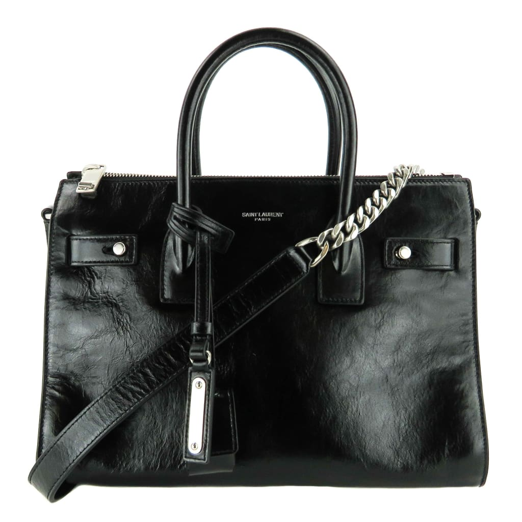 Saint Laurent Black Glaze Leather Baby Souple Sac De Jour Satchel Bag - Satchels