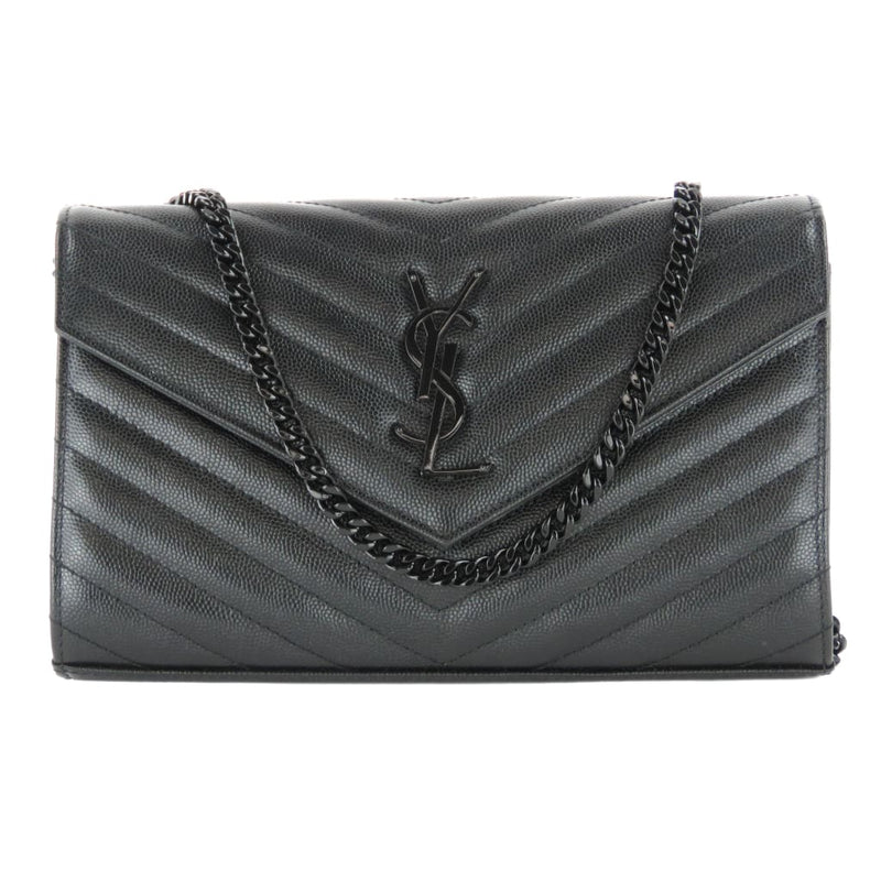 Saint Laurent Black Leather Matelasse Chevron Chain Wallet Shoulder Bag - Shoulder Bags