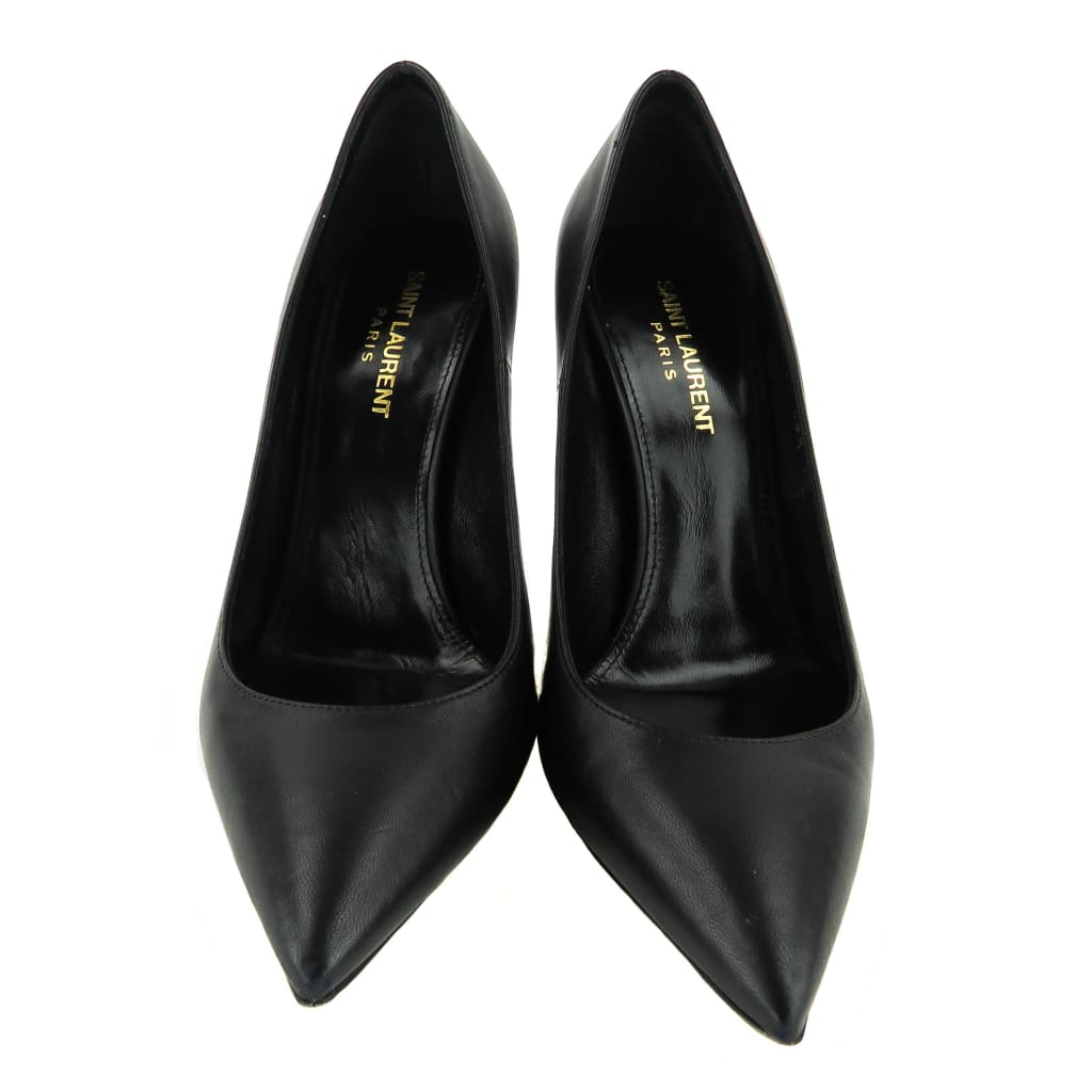 Saint Laurent Black Leather Opyum YSL Heel Pumps - Heels