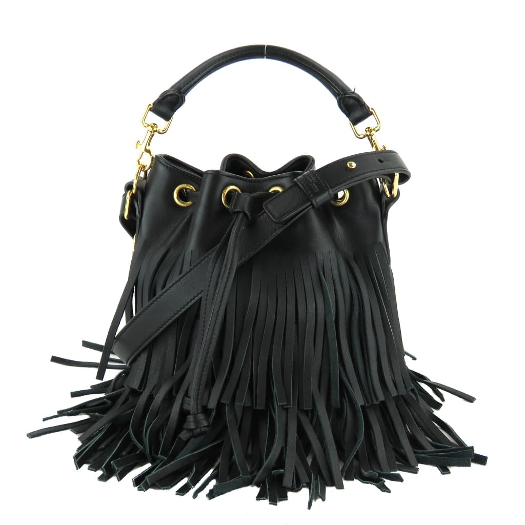 Saint Laurent Black Leather Paus Small Emmanuelle Fringe Bucket Crossbody Bag - Crossbodies