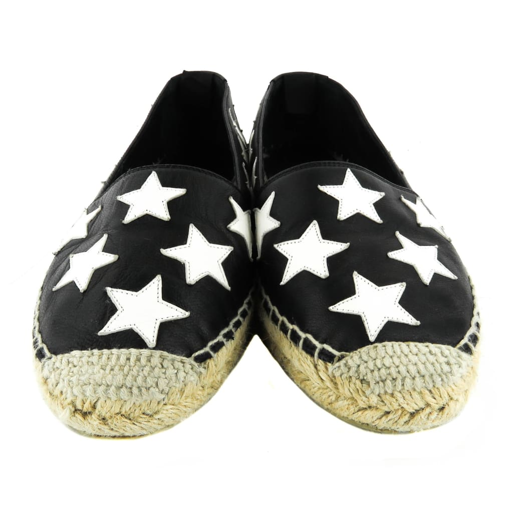 Saint Laurent Black Leather White Stars Espadrille Flats - Espadrilles