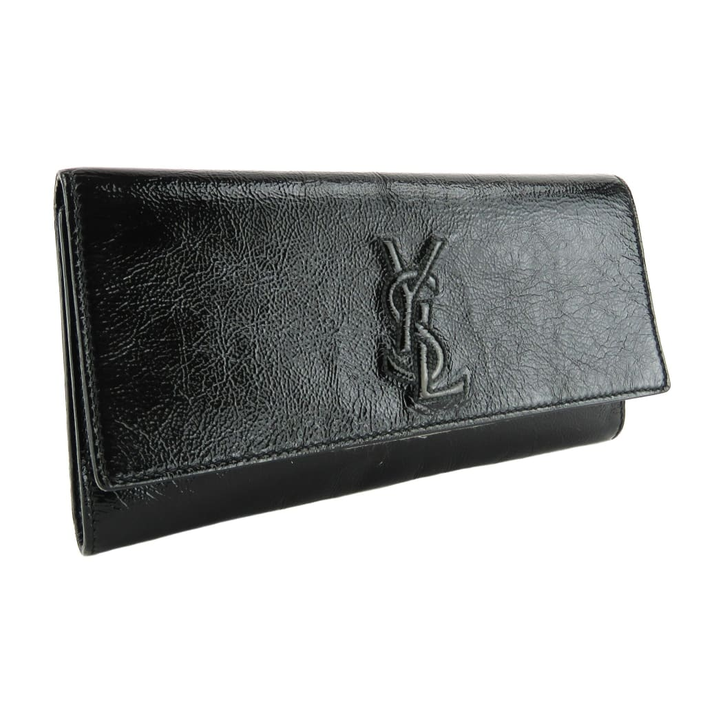 Saint Laurent Black Patent Leather Belle Du Jour Clutch Bag - Clutches