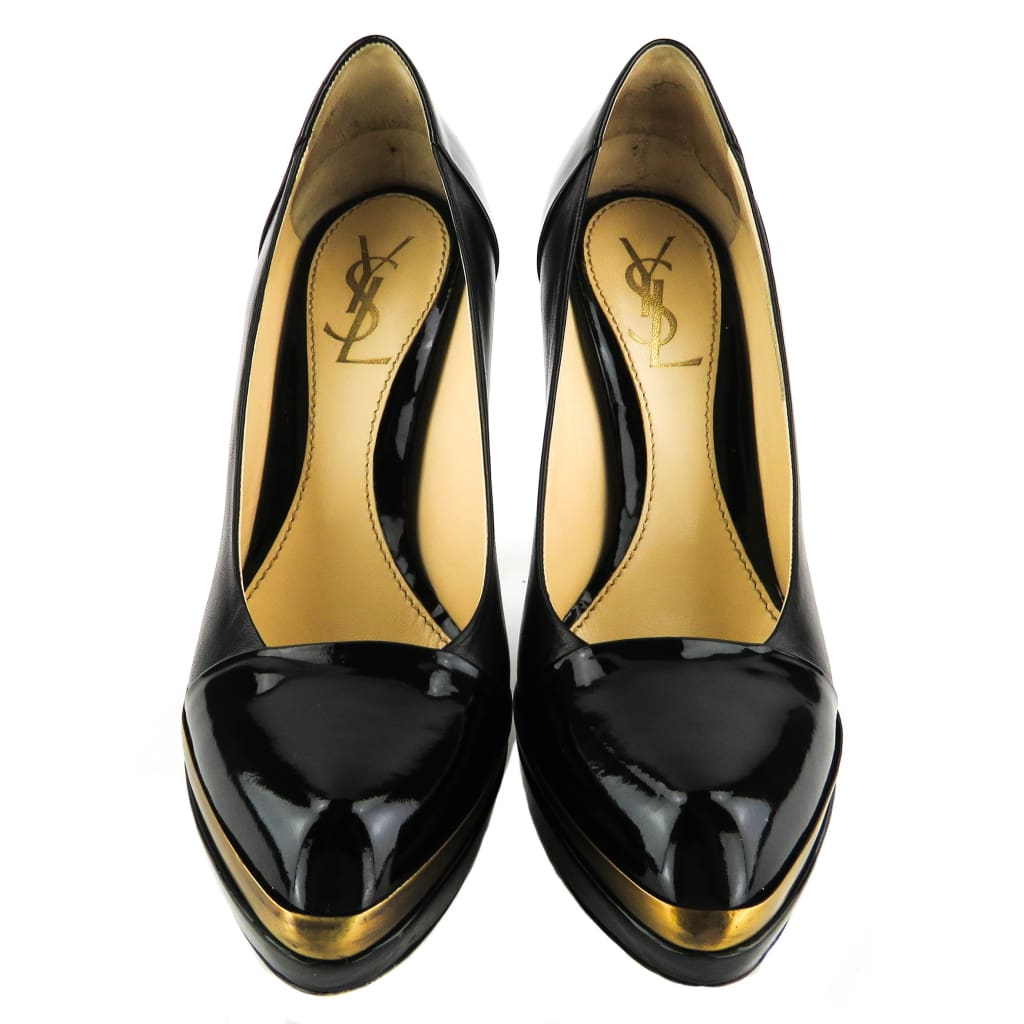 Saint Laurent Black Patent Leather Platform Pumps - Heels
