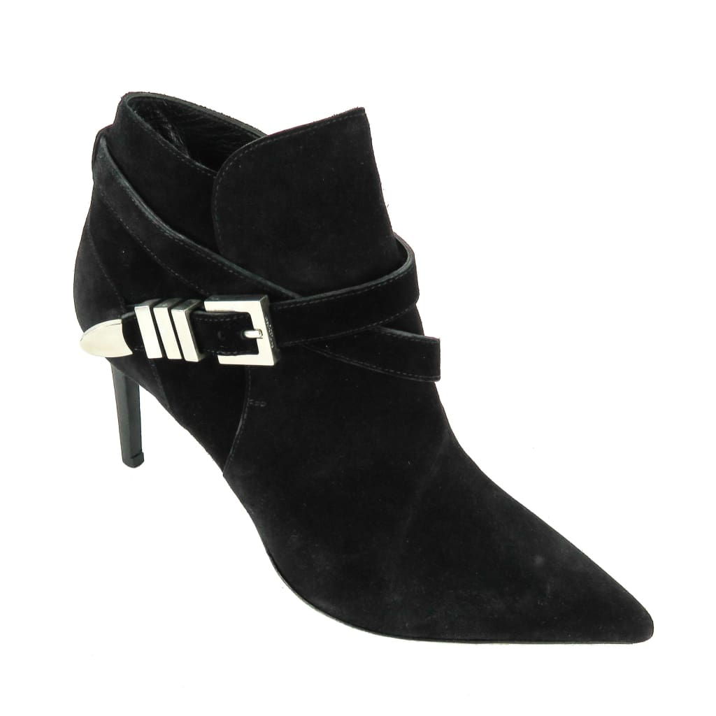 Saint Laurent Black Suede Pointed Toe Ankle Booties - Bootie