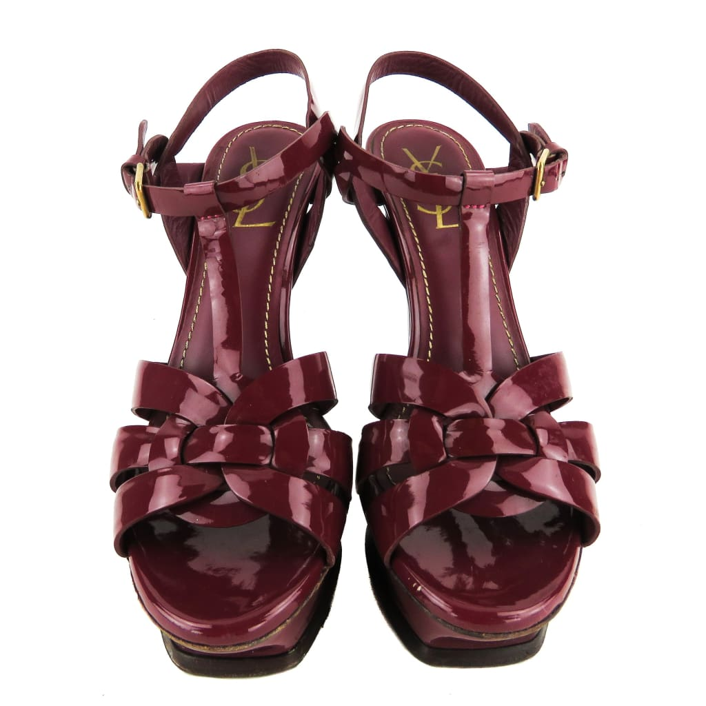 Saint Laurent Fuschia Patent Leather Tribute Platform Sandal Heels - Heels