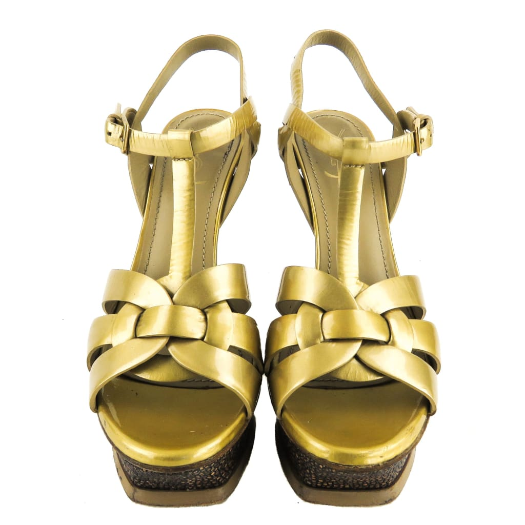 Saint Laurent Gold Patent Leather Stingray Tribute Platform Sandal Heels - Heels