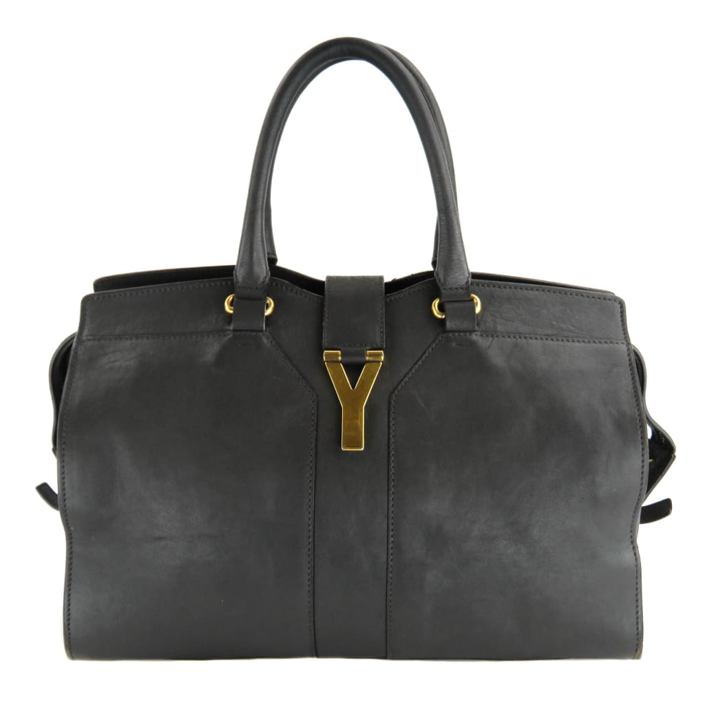 Saint Laurent Grey Leather Medium Cabas Chyc Tote Bag - Totes