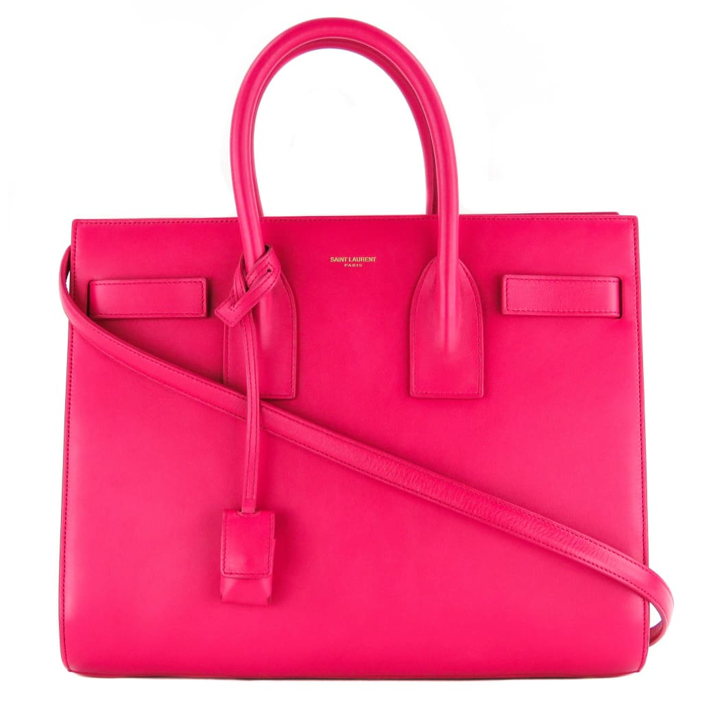 Saint Laurent Pink Calfskin Leather Small Sac De Jour Satchel Bag - Satchels