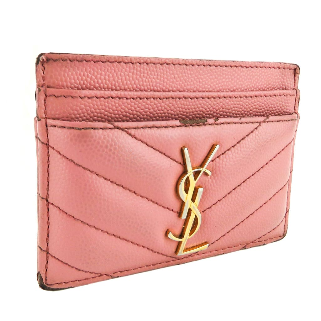 Saint Laurent Pink Quilted Grain Embossed Leather Monogram Card Case - Card Case