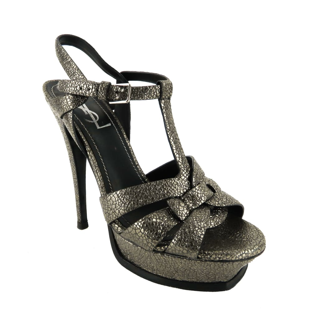 Saint Laurent Silver Metallic Leather Tribute Platform Sandal Heels - Heels