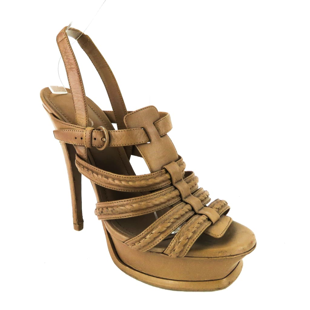 Saint Laurent Tan Leather Indian Mandorla Hamptons Tribute Platform Sandal Heels - Sandals