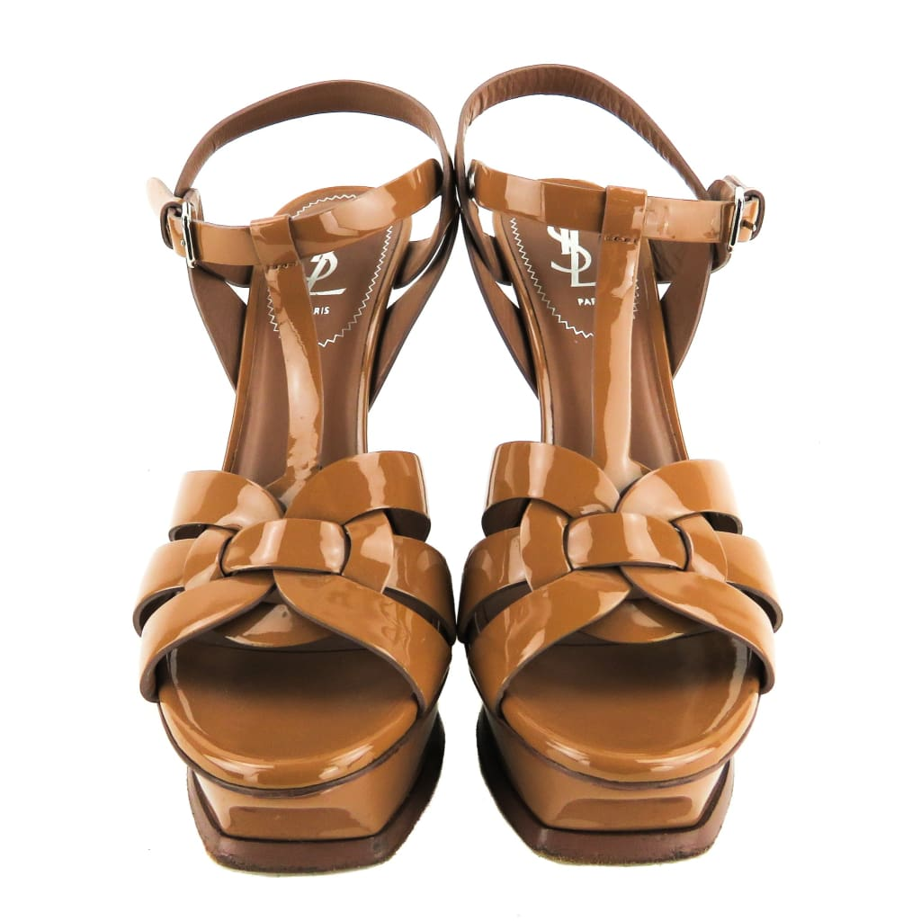 Saint Laurent Tan Patent Leather Tribute Platform Sandal Heels - Heels