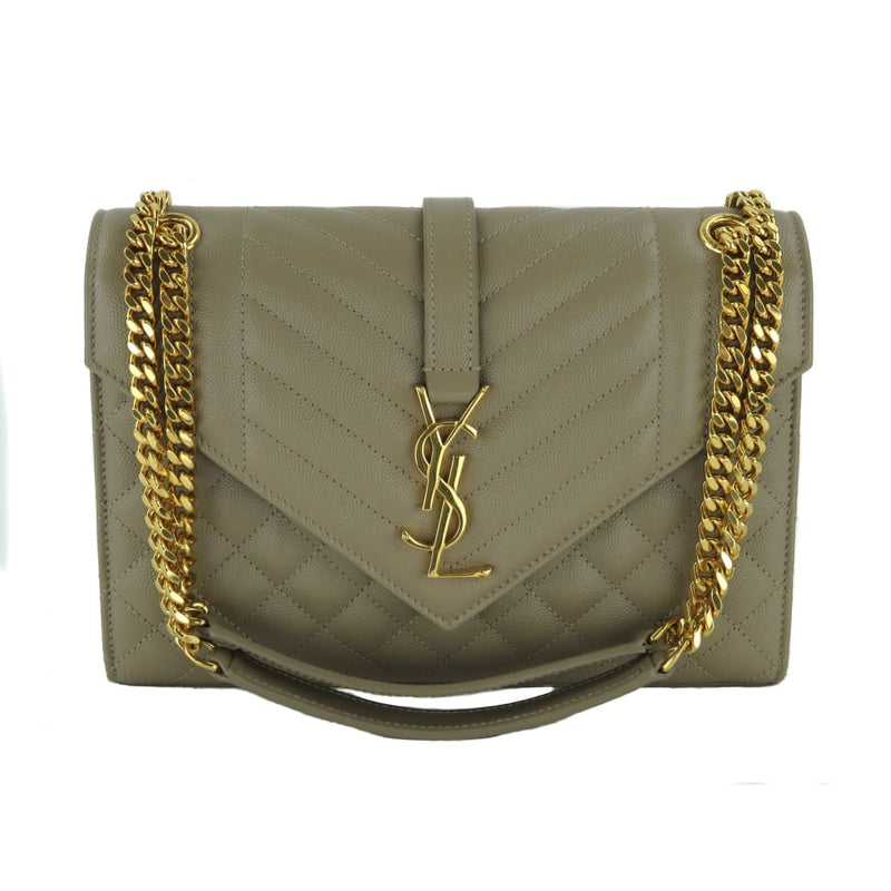 Saint Laurent Taupe Tri-Quilted Leather Medium Matelasse Flap Shoulder Bag - Shoulder Bags