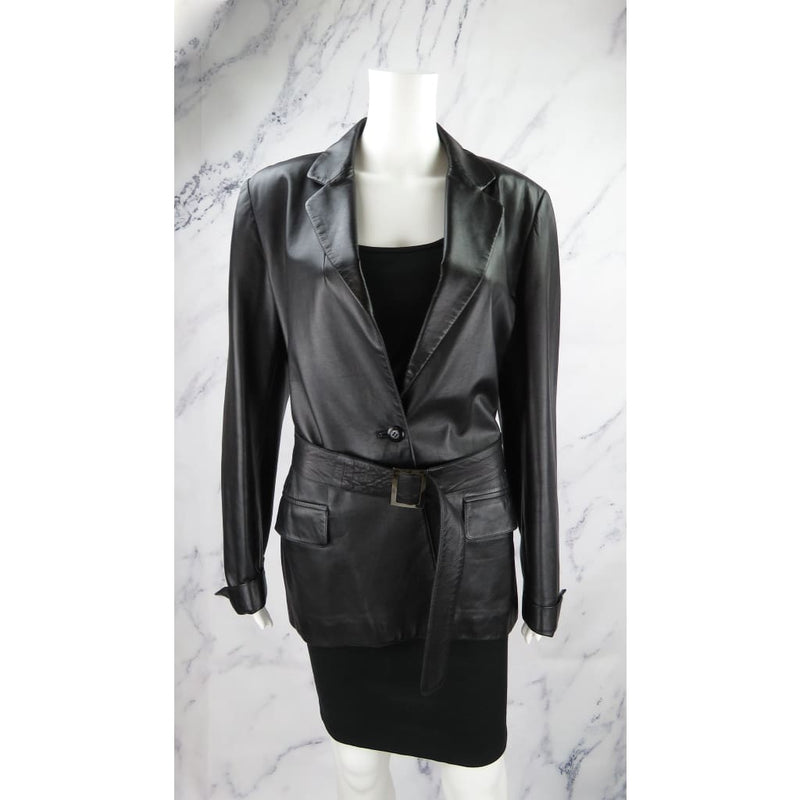 Salvatore Ferragamo Black Leather Size 14 Jacket - Jacket