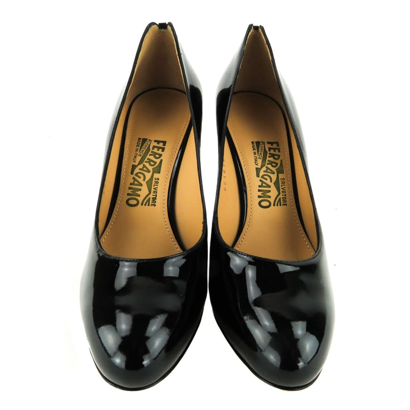 Salvatore Ferragamo Black Patent Leather Ronda Pumps - Pumps