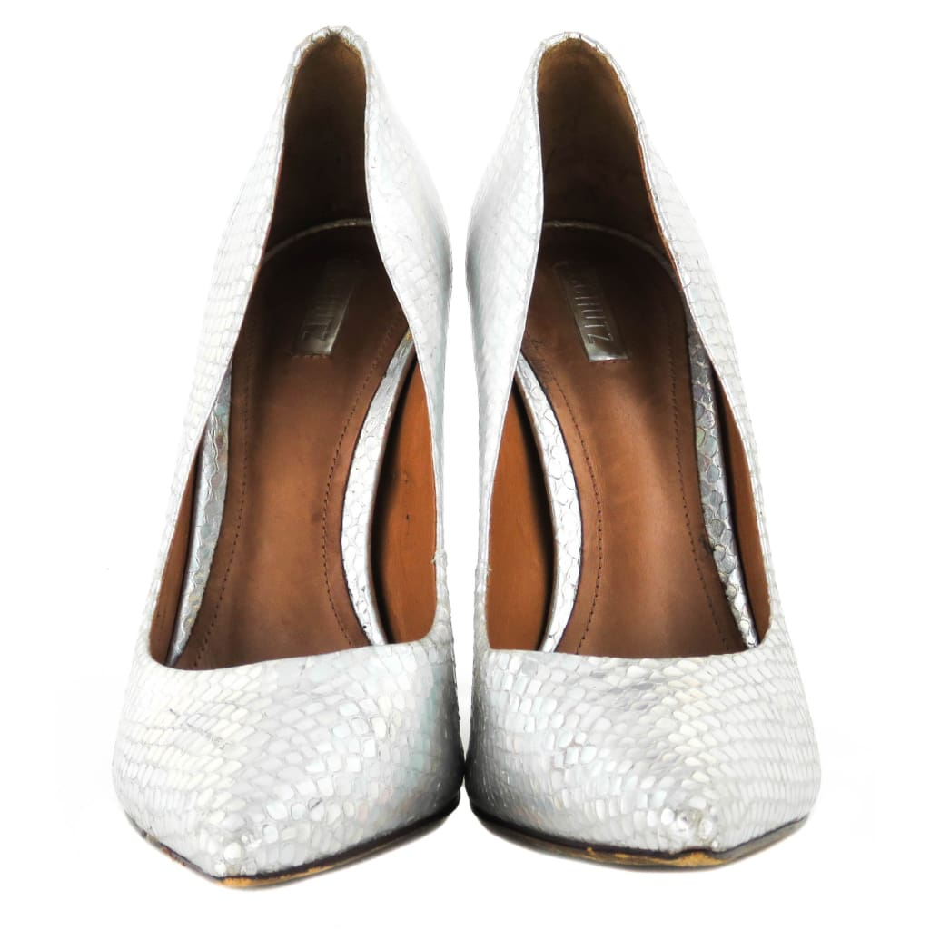 Schutz Silver Reptile Embossed Leather Iridescent Pumps - Heels