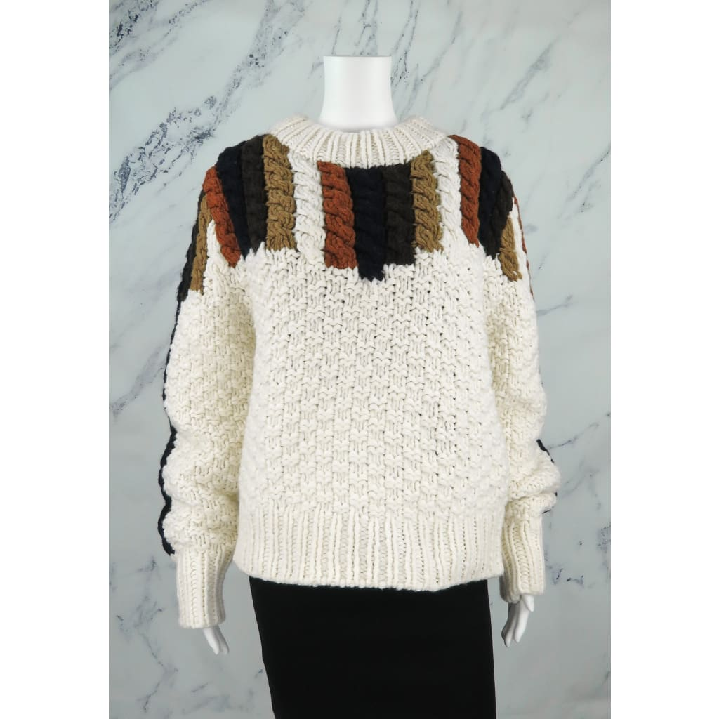 Sea Ivory Multicolor Wool Medium Aspen Chunky Hand Knit Sweater - Sweater