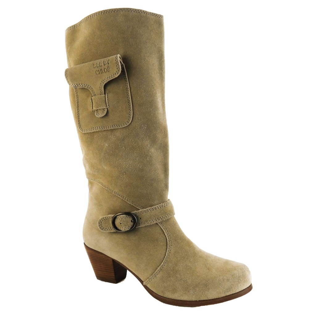 See by Chloe Beige Suede Side Pocket Tall Boots - Boots/Rain Boots