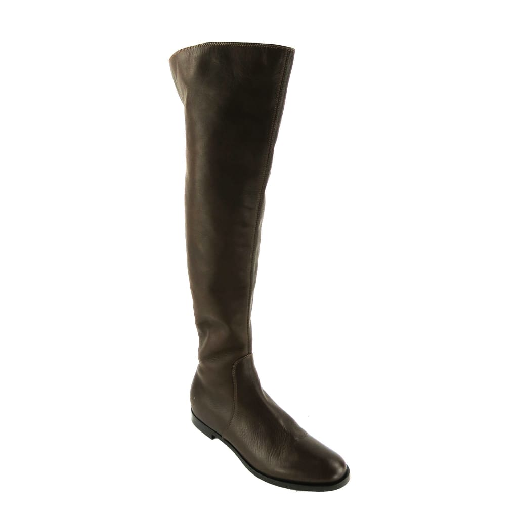 Sergio Rossi Brown Leather Freetime Tall Knee High Flat Boots - Boots/Rain Boots