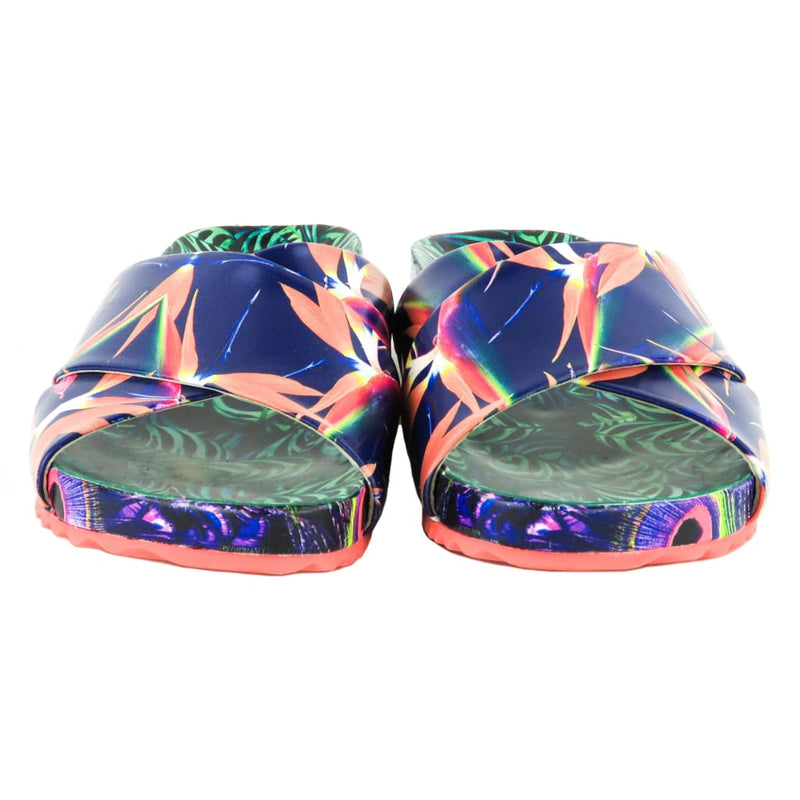Sophia Webster Multicolor Leather Phoebe Tropical Plant Slide Sandals - Sandals