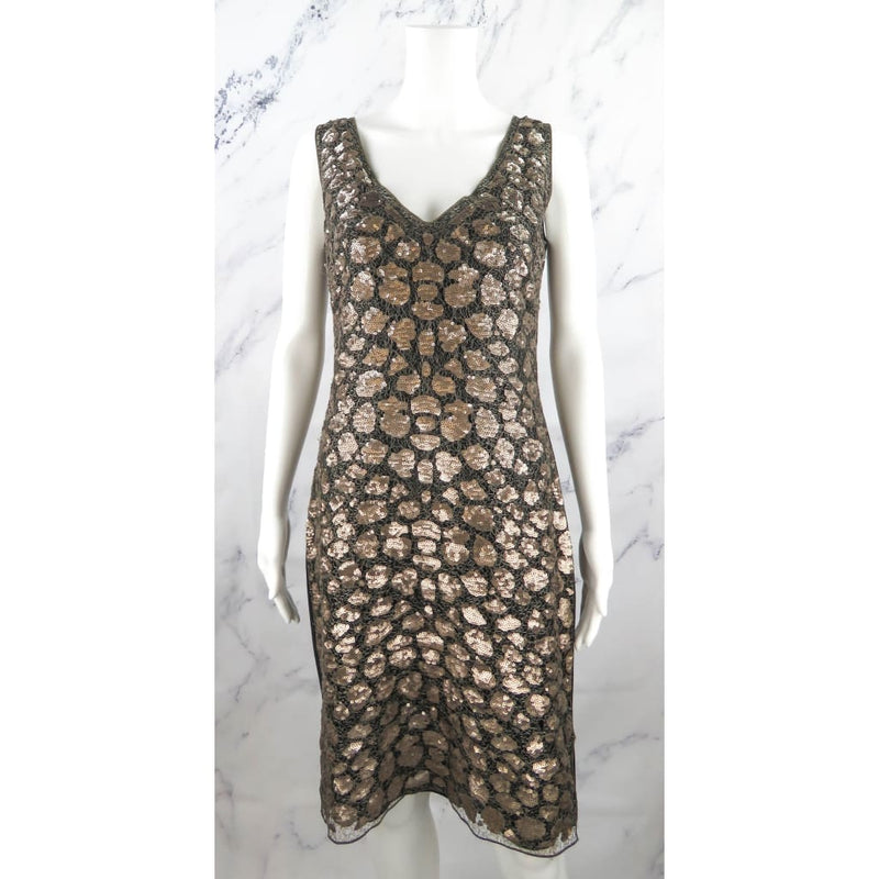 St. John Black and Gold Sequin Size 4 Dress - Dress