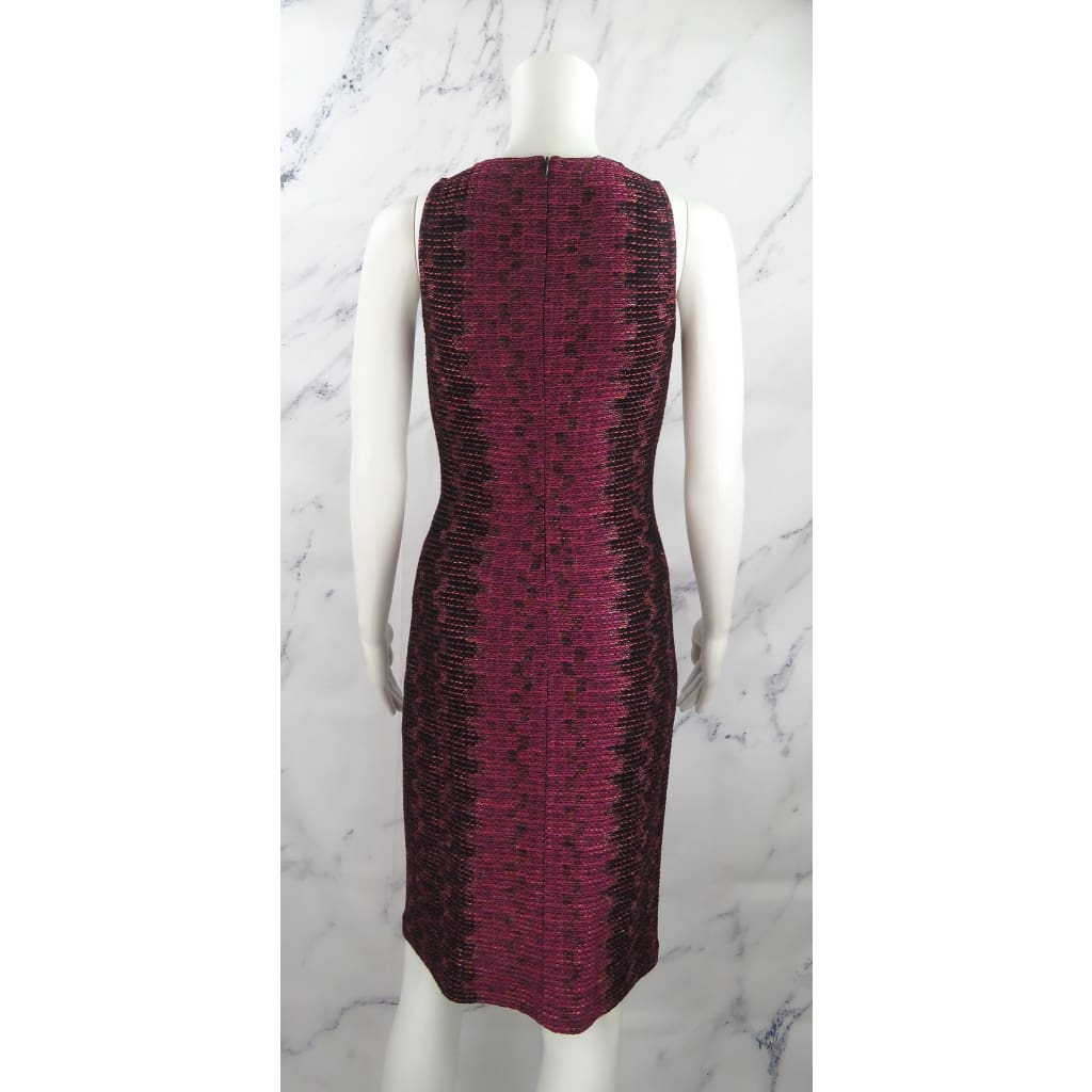 St. John Black and Pink Knit Blend Size Sleeveless Dress - Dresses