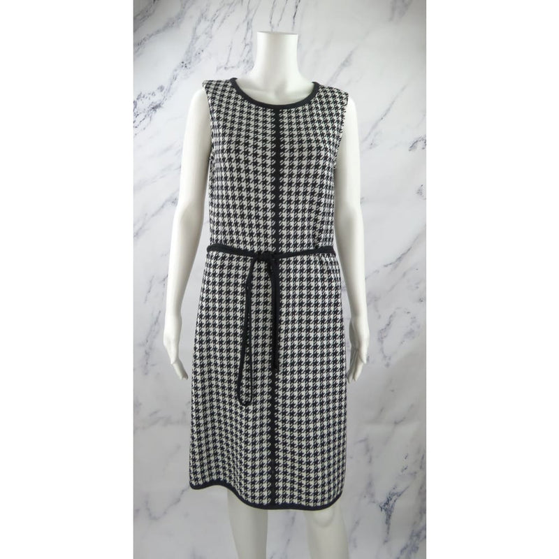 St. John Black and White Knit Blend Size 10 Houndstooth Sleeveless Dress - Dresses