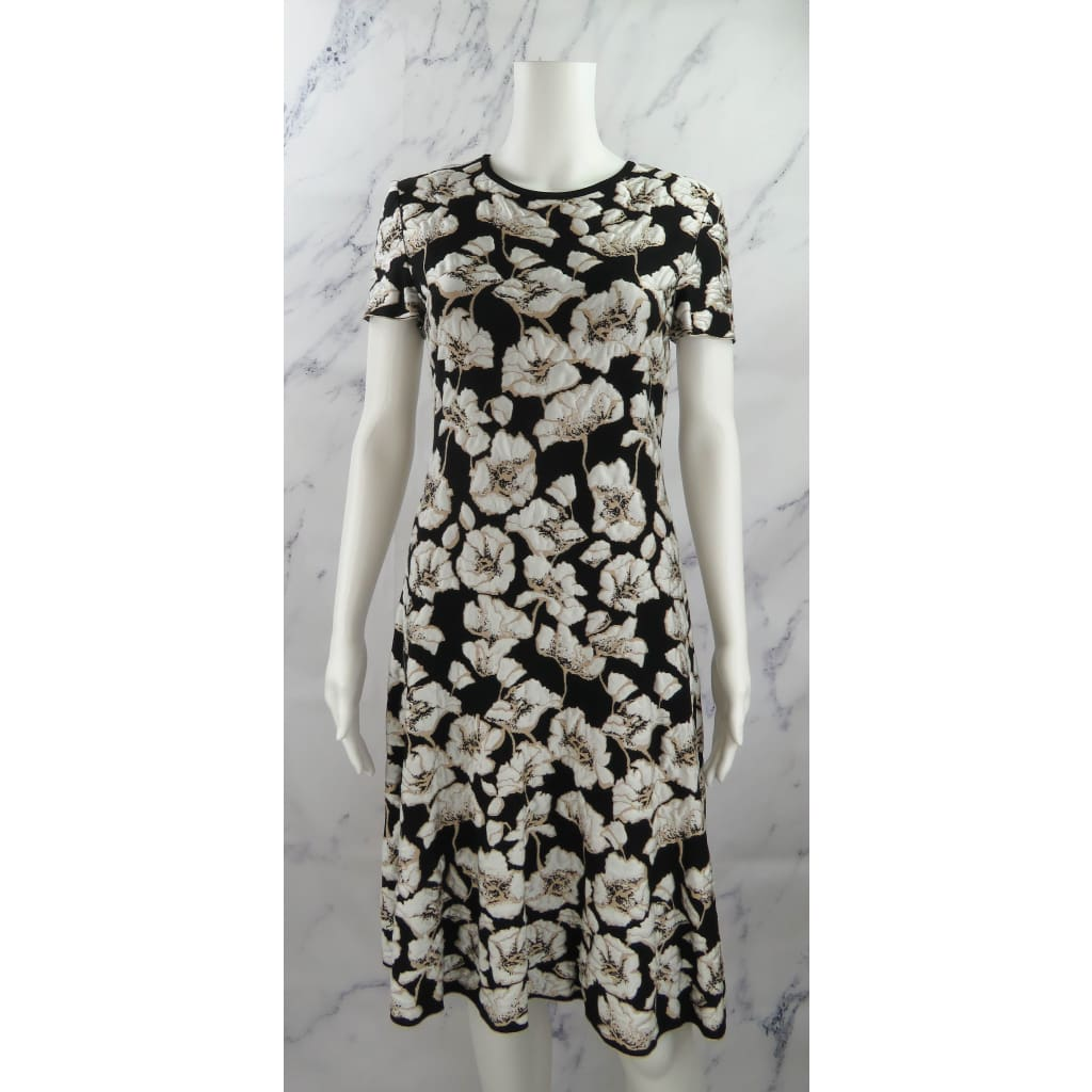 St. John Black and White Rayon Knit Size 6 Floral Cap Sleeve Dress - Dresses