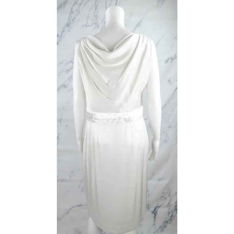 St. John Ivory Silk Size 6 Sleeveless Dress - Dress