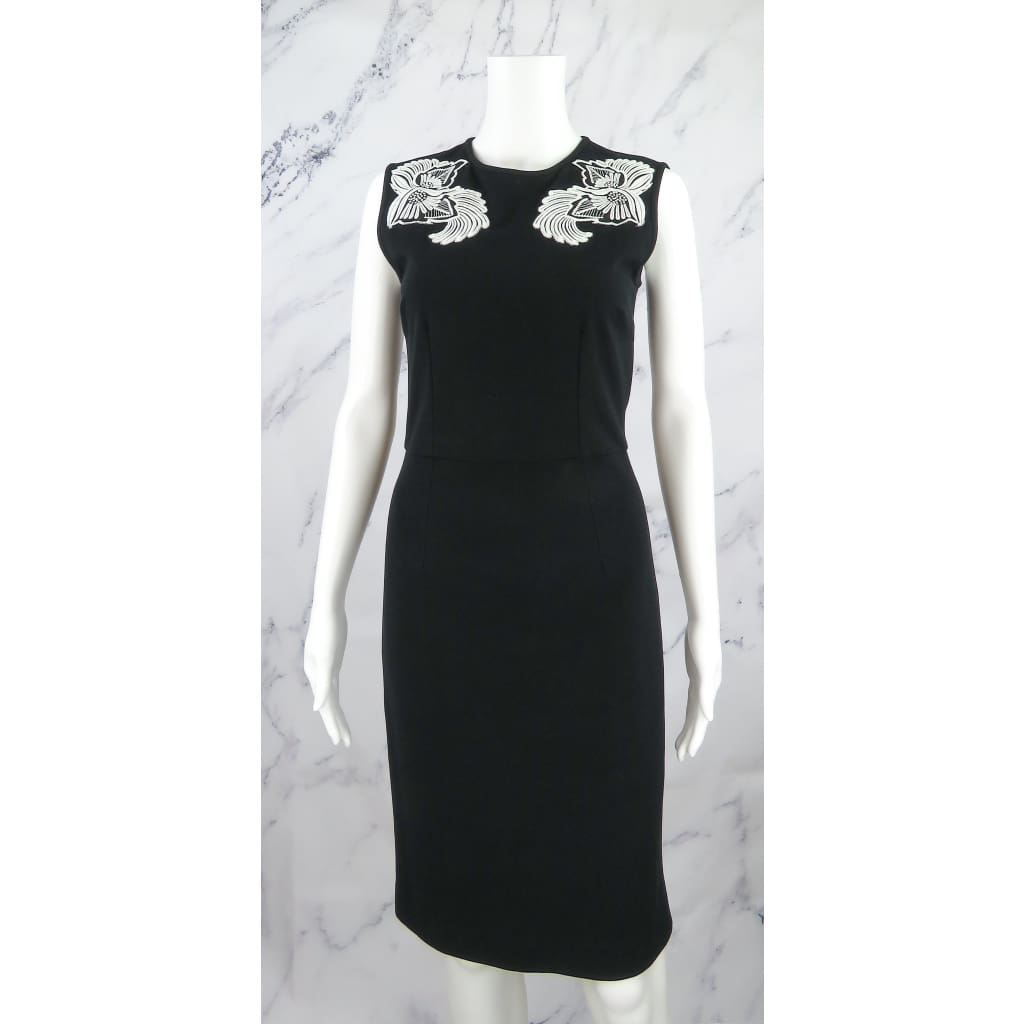 Stella McCartney Black Rayon Size 40 Floral Embroidered Sleeveless Dress - Dresses