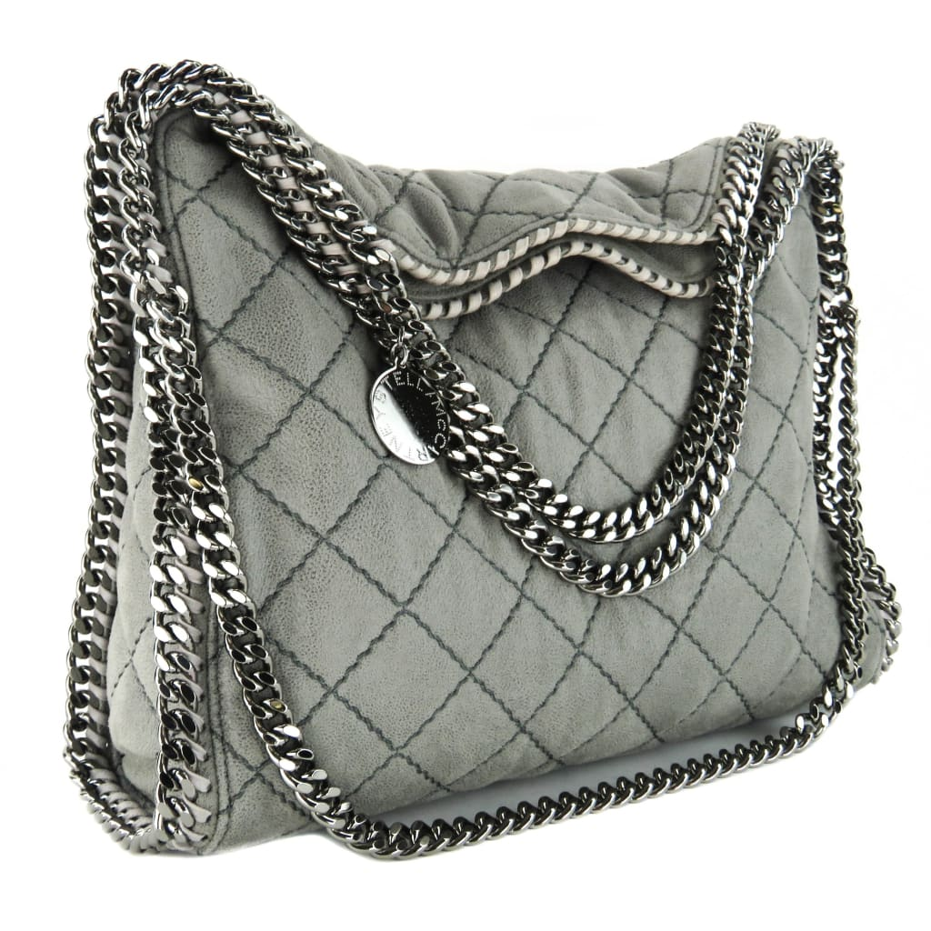 Stella McCartney Grey Metallic Quilted Falabella Small Shaggy Deer Tote - Totes