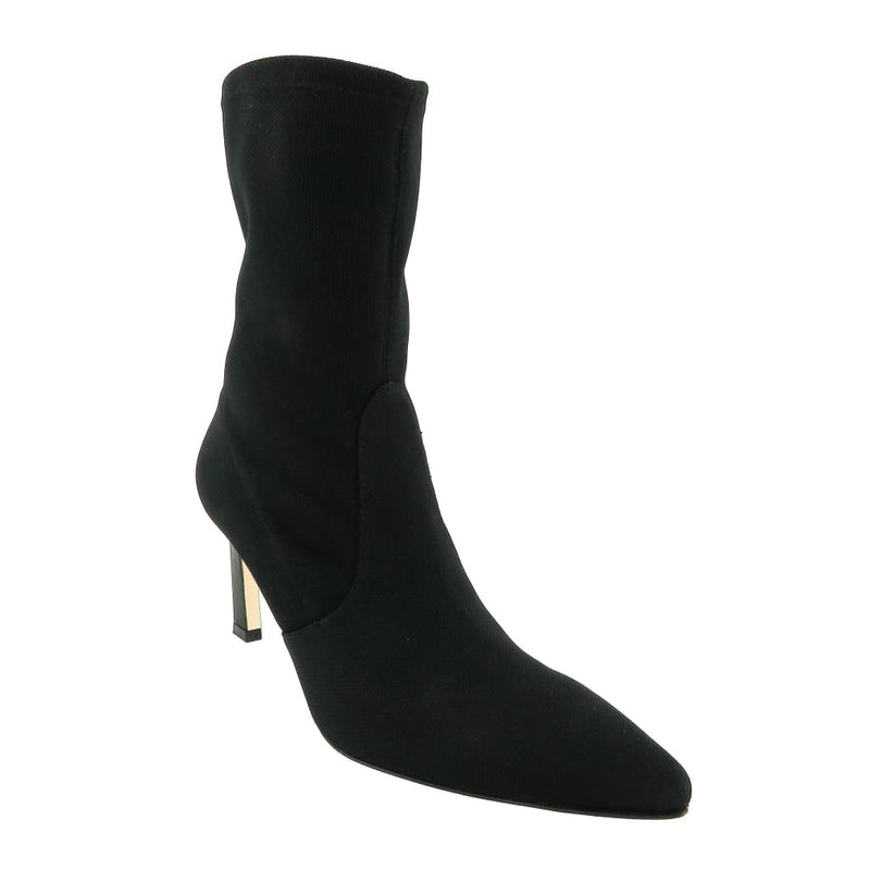 Stuart Weitzman Black Fabric Pointed Toe Ankle Boots - Bootie