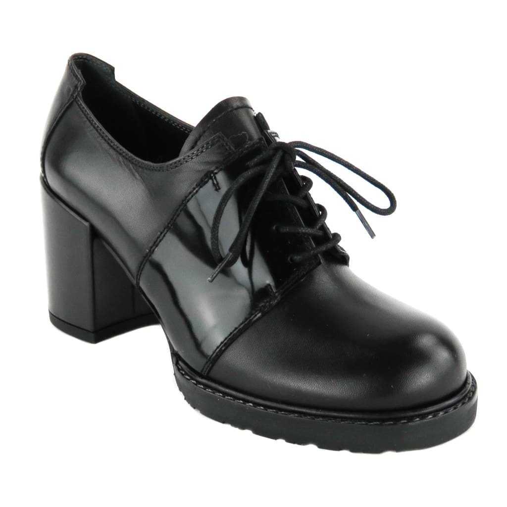 Stuart Weitzman Black Leather Saddled Oxford Heels - Heels
