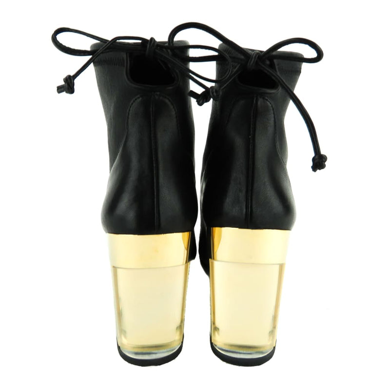 Stuart Weitzman Black Leather The Glove Ankle Boots - Bootie