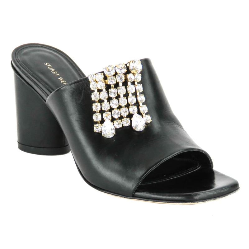 Stuart Weitzman Black Leather The One Embellished Mule Heels - Heels