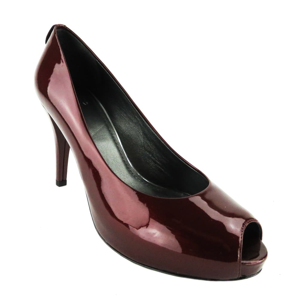 Stuart Weitzman Red Patent Leather Sierra Wine Peep Toe Pumps - Heels