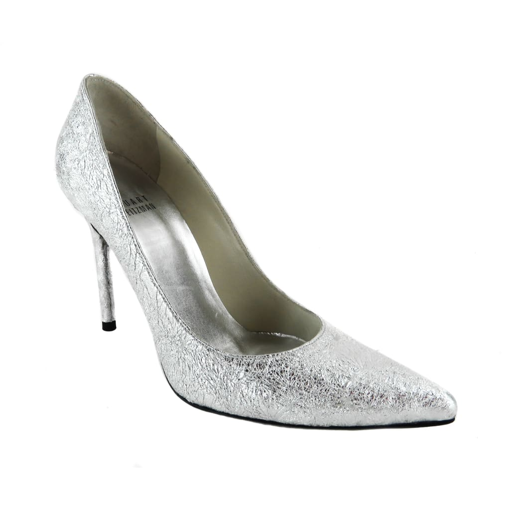 Stuart Weitzman Silver Metallic Leather Nouveau Pointed Toe Pumps - Heels