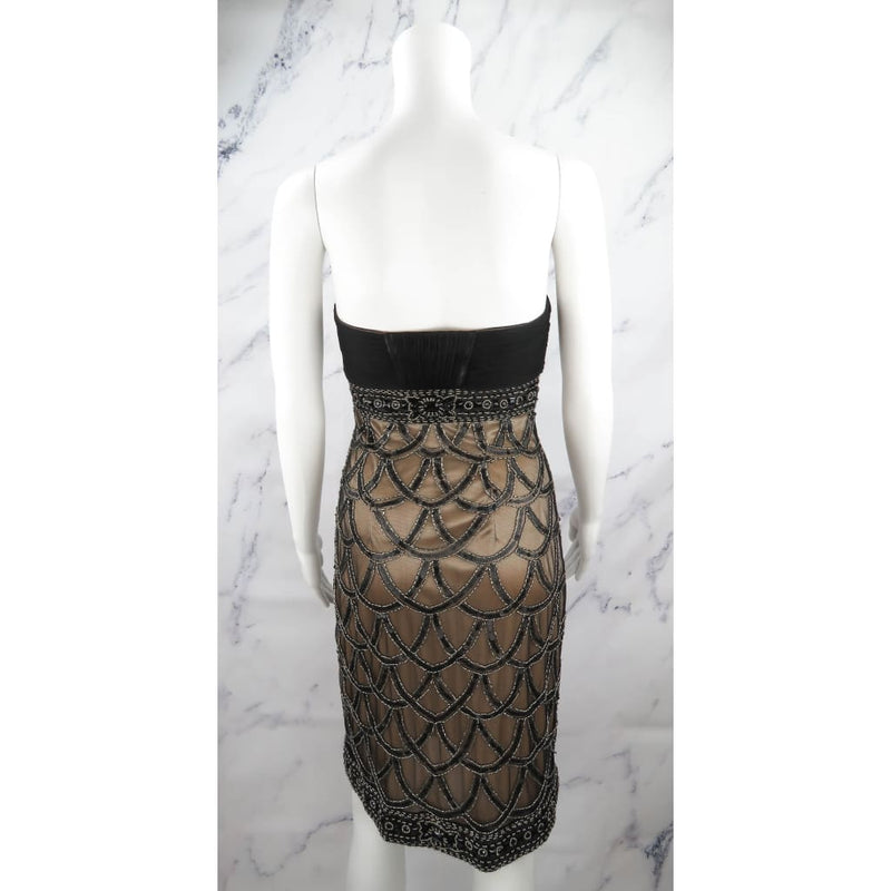 Sue Wong Black and Beige Polyester Beaded Embellished Strapless Size Dress - Dress