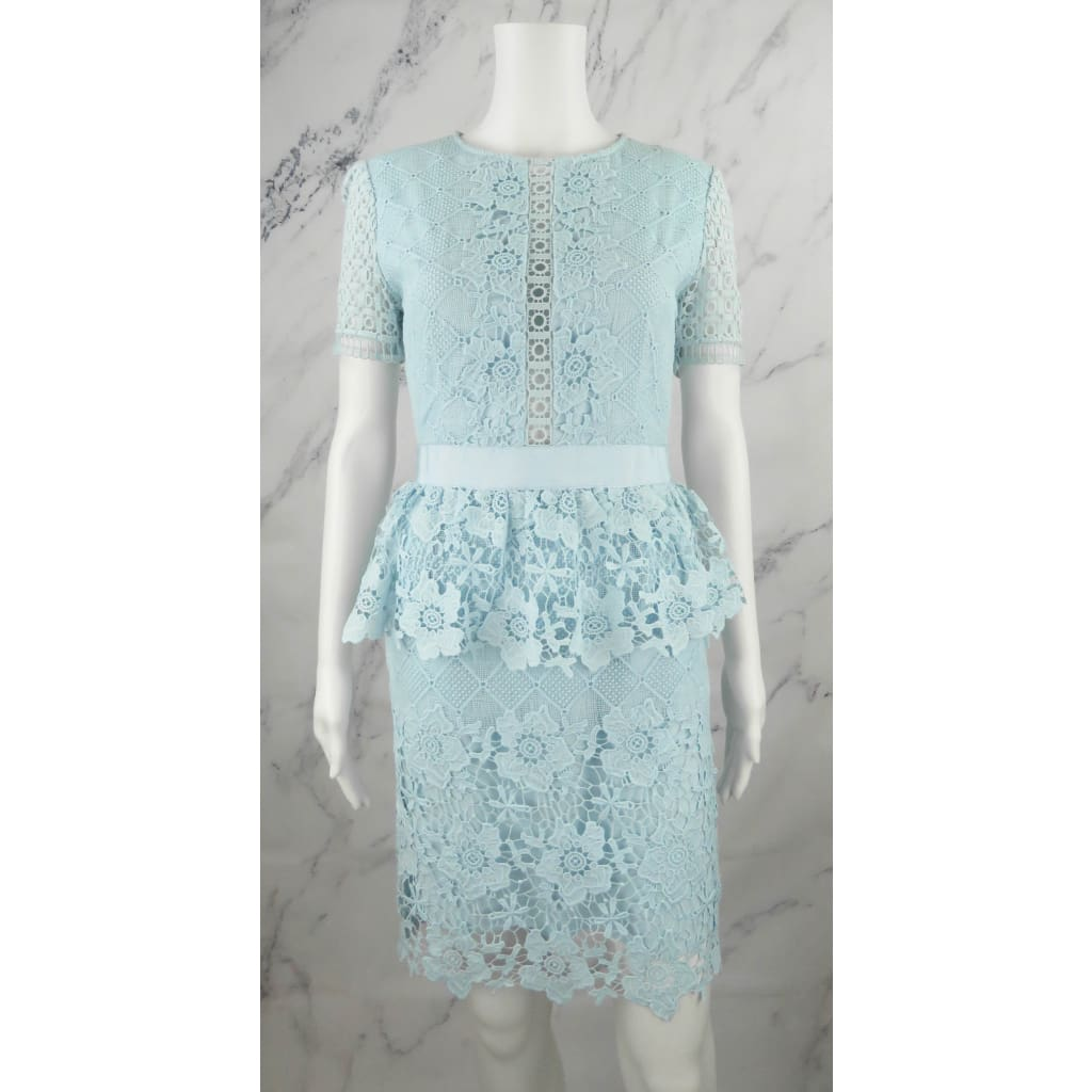 Ted Baker Light Blue Lace Dixa Peplum Short Sleeve Size 3 Dress - Dresses