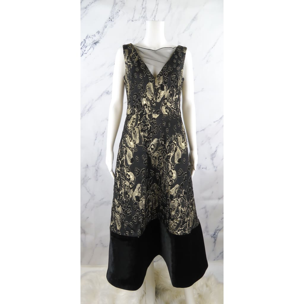 Theia Black and Gold Metallic Leopard Brocade Velvet Hem Size 8 Dress - Dresses