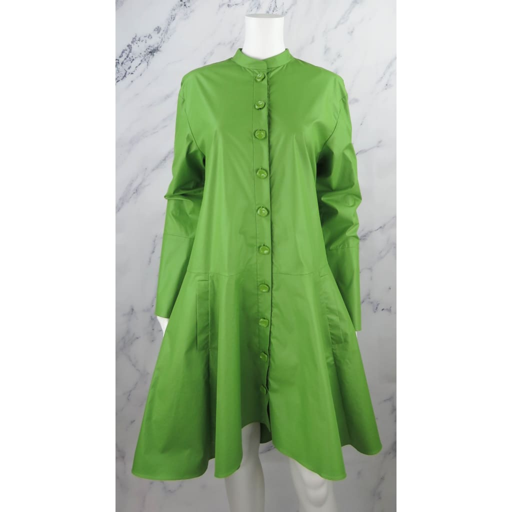 Tibi Green Polyester Glossy Plainweave Size 8 Shirt Dress - Dresses