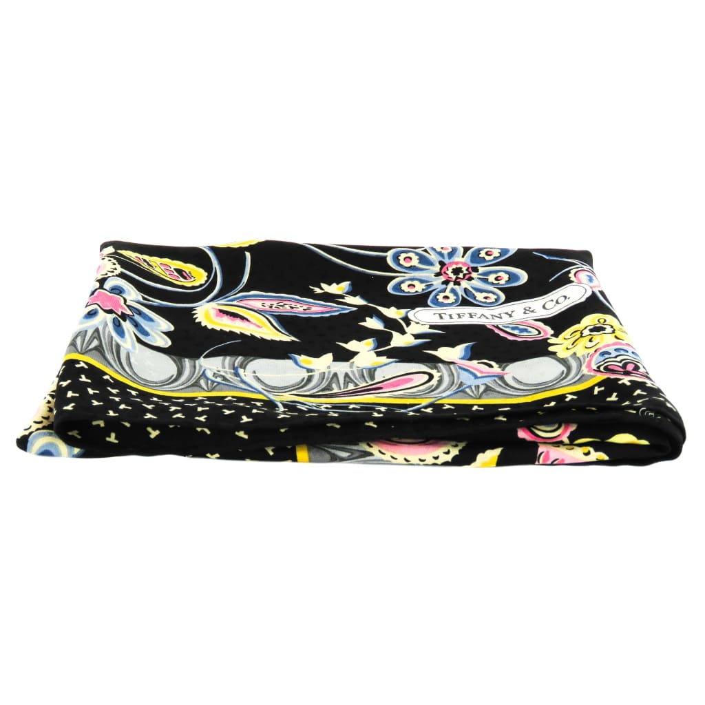 Tiffany & Co Black Multicolor Silk Vintage 1986 Floral Print T Design Scarf - Scarves