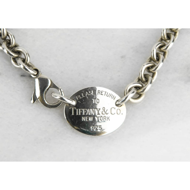 Tiffany & Co Stereling Silver Return to Tiffany Oval Tag Choker Necklace - Necklace