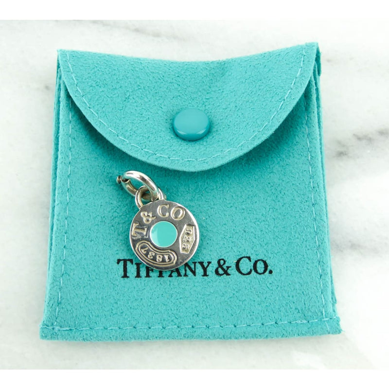 Tiffany & Co Sterling Silver 1837 Teal Dot Pendant Charm - Charm