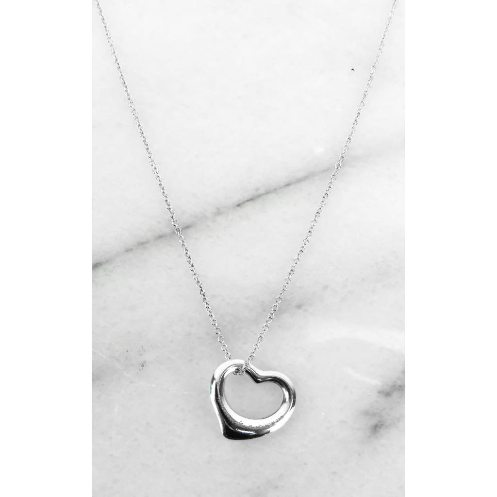 Tiffany & Co Sterling Silver Elsa Peretti Open Heart Necklace - Necklace