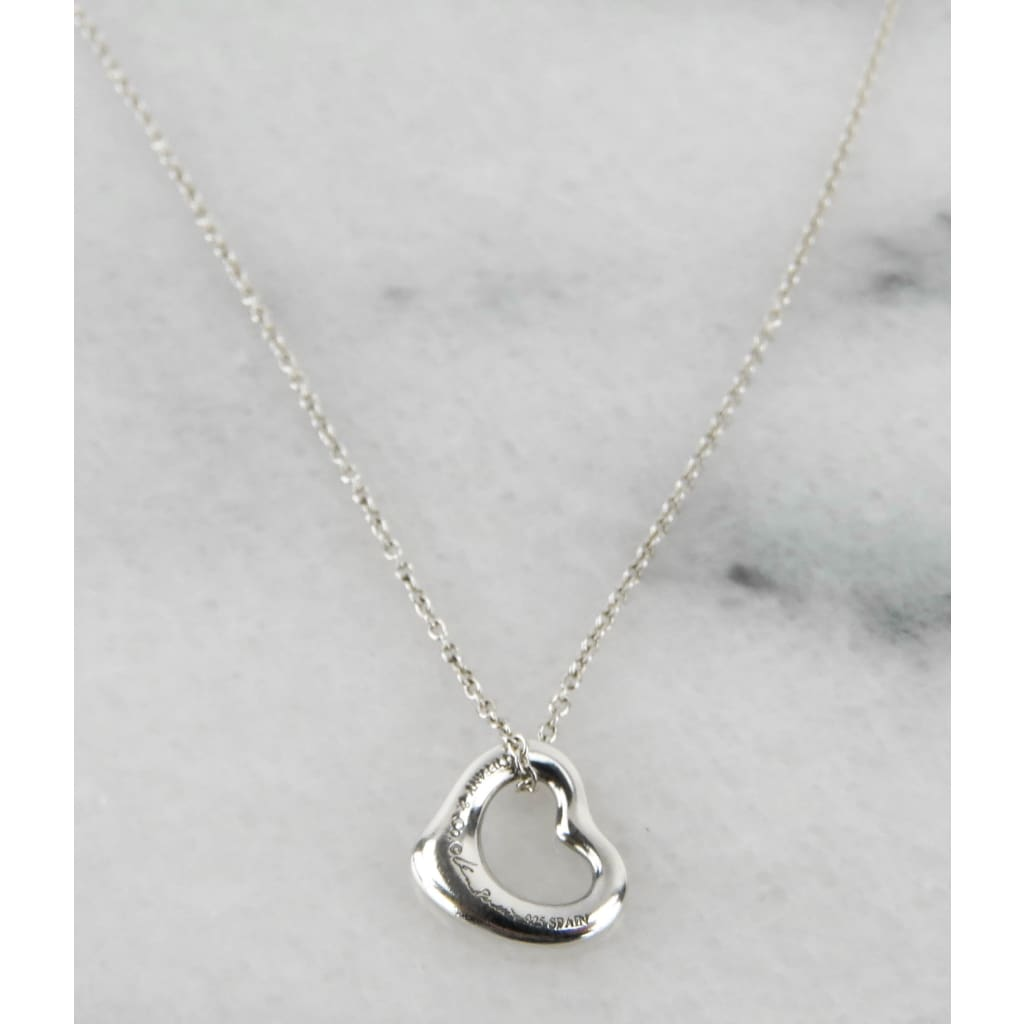 Tiffany & Co Sterling Silver Elsa Peretti Open Heart Pendant Necklace - Necklace