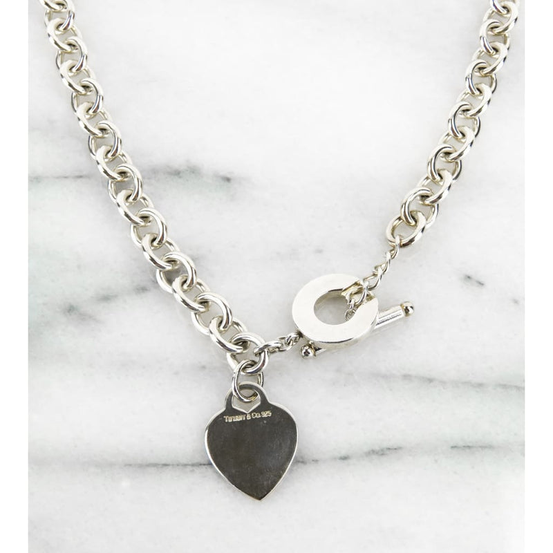 Tiffany & Co Sterling Silver Heart Charm Toggle Necklace - Necklace