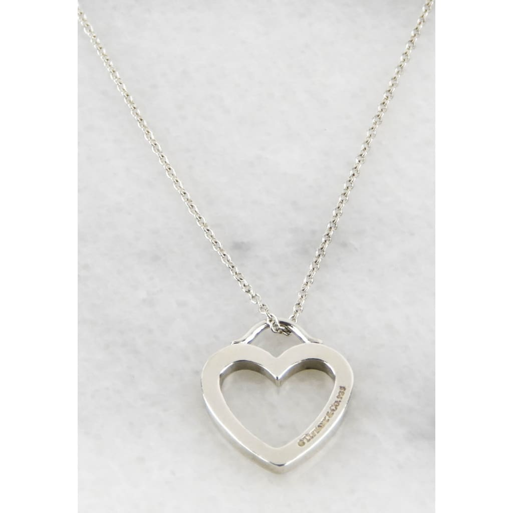 Tiffany & Co Sterling Silver Hollow Heart Shape Pendant Necklace - Necklace