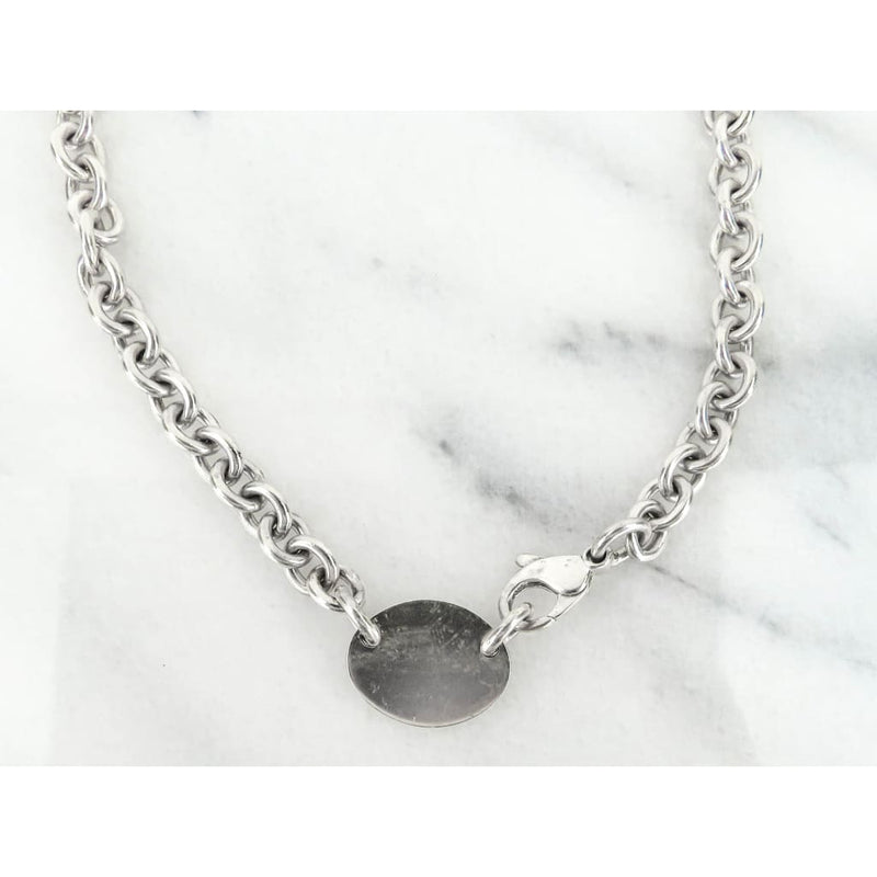 Tiffany & Co Sterling Silver Oval Dog Tag Choker Necklace - Necklace